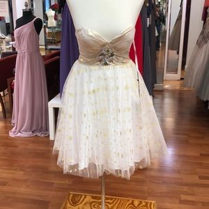 Ivory-gold prom dress with rhinestones